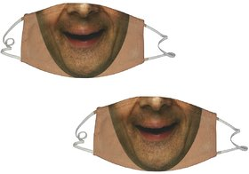 De-ultimate Set Of 2 Pcs Multicolor Anti Pollution Funny Face Printed Stre