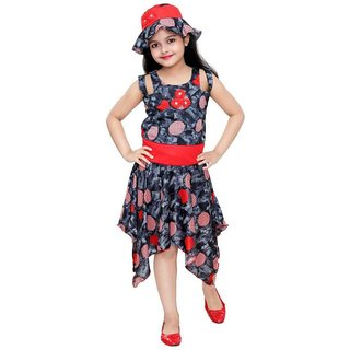 SBN Grey Maxi Frock Dress For Girls With Cap