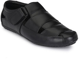 Shoegaro Black Leather Sandals for Men