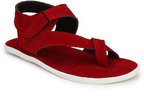 Shoegaro Men's Red Suede Leather Casual Sandal