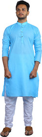 AD Fashion Cotton fabric Teal color kurta with white polyster fabric payjama stitched sets