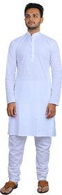 AD Fashion Cotton White color fabric kurta with white polyster fabric payjama stitched sets