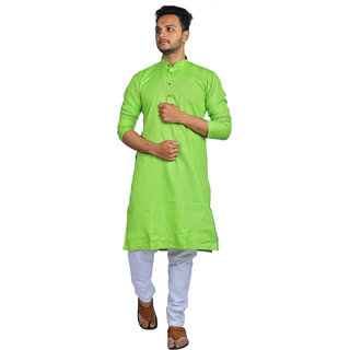 AD Fashion Cotton fabric Perrot color kurta with white polyster fabric payjama stitched sets