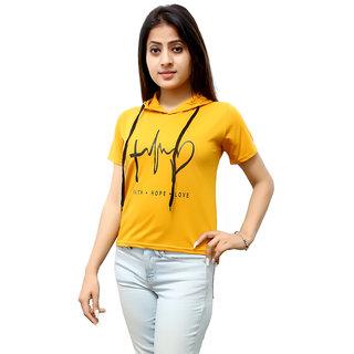 PMR Hreat Beat Crop Top Half Sleeves For Women's (YELLOW)