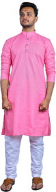 AD Fashion Cotton fabric Baby Pink color kurta with white polyster fabric payjama stitched sets