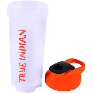 TRUE INDIAN WHITE-ORANGE 700 ml Shaker  (Pack of 1, White, Orange, Plastic)