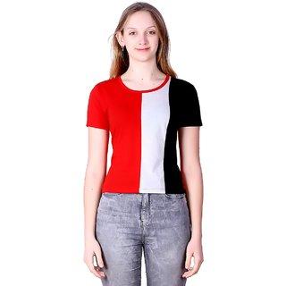 PMR 3 Block Cotton Fabric Crop Top For Women's Half Sleeves