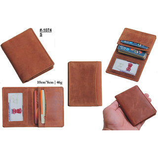 theFitSquare Men Brown Genuine Leather RFID Card Holder 20 Card Slot 1 Note Compartment TFS-1074