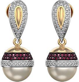RM Jewellers 92.5 Sterling Silver American Diamond Glamorous 'Real Peal' Earrings For Women