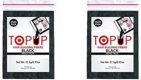 Topup Hair Building Fiber Refill bag Black-27.5gm For Hair Damage and Hair Loss Concealer(Pack of 2)