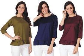 3Pcs Combo Girls TOP - AdiRattan Rayon Cotton Fabric Frill Style Top