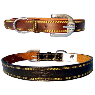 Forever99 Pet Shop Leather Dog Collar Neck Belt for Medium Dogs Combo(Brown and Black)
