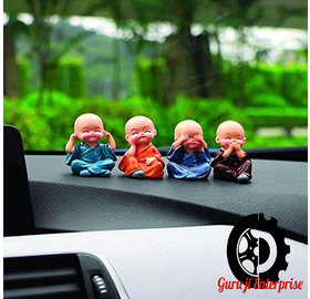 Car Dashboard Accessories Set of 4 Handcrafted Miniature Decorative Buddha Monk Figurines Showpiece for car,Home