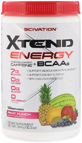 Scivation Xtend Energy Time Released Caffeine and BCAAs, Fruit Punch  (12.3 oz , 348 g)