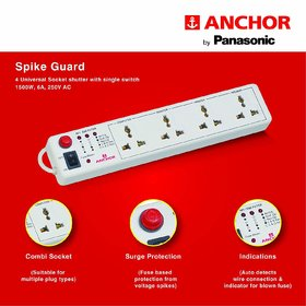 Anchor - Spike Guard 4 Way Socket with Single Switch (22047B1)