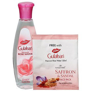 Dabur-Gulabari Premium Gulab Jal-120 Ml + Free Herbal Saffron & Sandal Face Pack-20 Gm