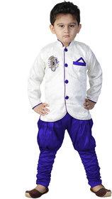 SBN White Sherwani With Blue Payjama