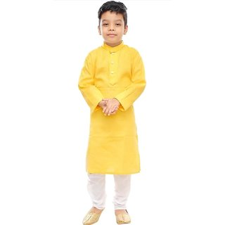 SBN Cotton Yellow Kurta Payjama For Boys