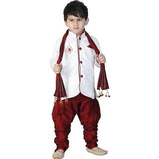 White Sherwani With Red Payjama