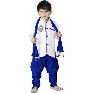 White Sherwani With Blue Payjama