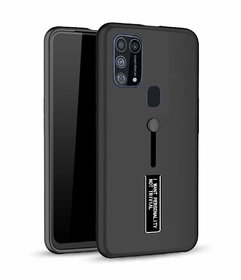 Maggzoo Perfect Fit Personality Back Cover Case With Stand And Finger Holder For Samsung Galaxy M31 / M30S - Black