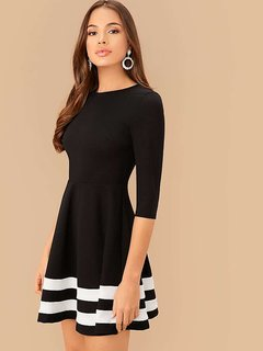 Vivient Women Black Bottom White Double Stripe Midi Dress