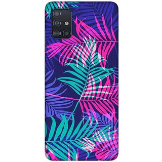 OnHigh Designer Printed Hard Back Cover Case For Samsung A51/Samsung A71, Purple Leaves