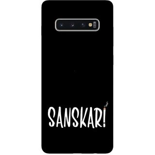 OnHigh Designer Printed Hard Back Cover Case For Samsung S10 Plus, Sanskari Case