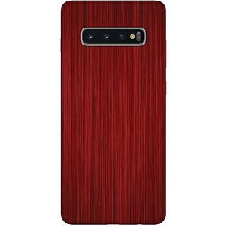 OnHigh Designer Printed Hard Back Cover Case For Samsung S10 Plus, Red Wooden