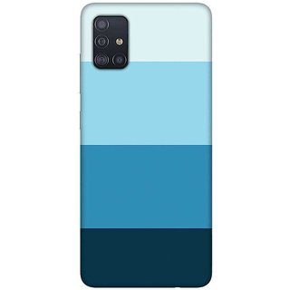 OnHigh Designer Printed Hard Back Cover Case For Samsung A51/Samsung A71, Blue Colour Lines
