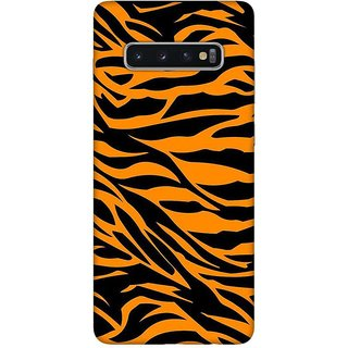 OnHigh Designer Printed Hard Back Cover Case For Samsung S10 Plus, Tiger Skin