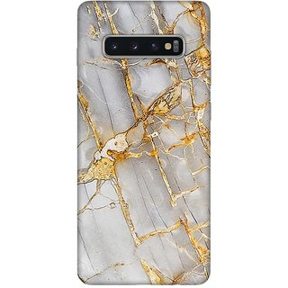 OnHigh Designer Printed Hard Back Cover Case For Samsung S10 Plus, Golden Marble