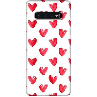 OnHigh Designer Printed Hard Back Cover Case For Samsung S10 Plus, Red Hearts on White Base