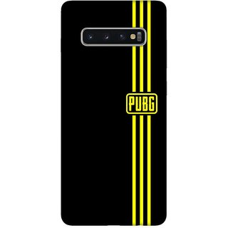 OnHigh Designer Printed Hard Back Cover Case For Samsung S10 Plus, Yellow PUB Logo