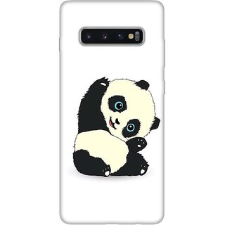 OnHigh Designer Printed Hard Back Cover Case For Samsung S10 Plus, Panda Say Hey