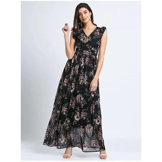 Vivient Women Black Red Flower Printed Georgette Long Dress