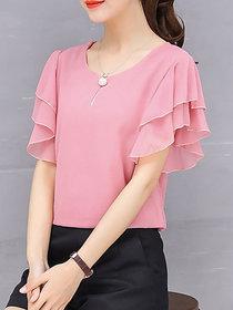 Vivient Women Pink Ruffle Sleeve Neck Button Top