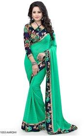 Pari Designerr Green Georgette Printed Saree With Blouse