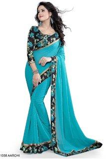 Pari Designerr Blue Chiffon Printed Saree With Blouse