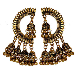 Lucky Jewellery Oxidised Gold Plating Jewelry Fancy Design Stud With jhumkis for Girls & Women (234-TEO-95)