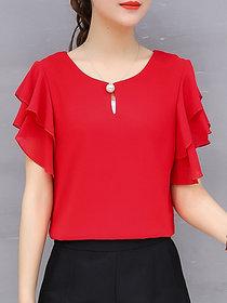 Vivient Women Red Ruffle Sleeve Neck Button Top