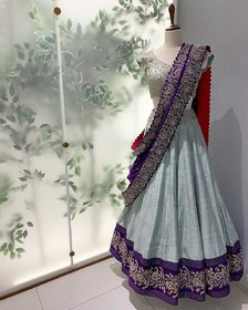 Salwar Soul   Stylish Light Sky Blue Color Embroidery Work Heavy Taffeta Silk Lehenga Choli