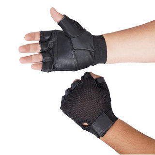 Fashion 7 Black Leather Gym Gloves - Free Size