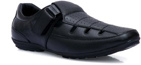 SHOEGARO Men's BLACK  LEATHER MOCCASION SANDAL