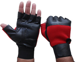 Fashion 7 Leather Red and Black Gym Gloves - Free Size