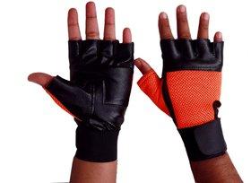 Fashion 7 Leather Gym Gloves - Free Size