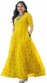 Yellow Rayon Embroidered Semi Stitched Anarkali Kurti by Lunious Fashion