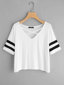 Vivient Women White Plain Cross Neck Top