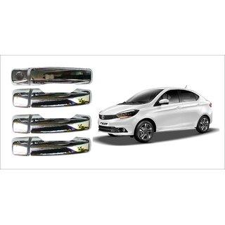 After cars Tata Tigor Car Door Handle Latch Chrome Plated Cover with Car Bluetooth