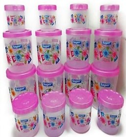 Set of 16 PCS MARKWELL Twister Plastic Containers (2400ml, 1600ml, 800ml, 400ml) Pink